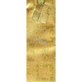 Nekupto Dárková papírová taška na láhev 33 x 10 x 9 cm zlatá stromek, hvězdy GLH