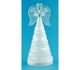 Anděl skleněný na postavení svítící LED 16 cm