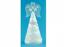 Anděl skleněný svítící LED na postavení 16 cm