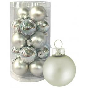 Sada skleněných baněk stříbrných 3 cm 20 kusů
