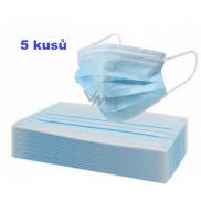 Rouška 3 vrstvá ochranná zdravotní netkaná jednorázová, nízký dýchací odpor 5 kusů