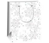 Ditipo Dárková papírová taška 11,5 x 6,5 x 14,5 cm bílá šedé vločky E