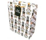 Epee Dárková papírová taška 26,5 x 32,5 x 12,7 cm Vánoční Bílá, vojáčci 002 LUX velká