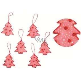 Stromečky na zavěšení červené s perličkami 6,5 cm 6 kusů
