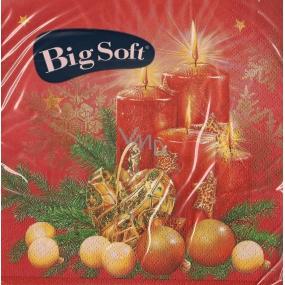 Big Soft Vánoční papírové ubrousky Svíčka a srdce červené 33 x 33 cm 2 vrstvé 20 kusů