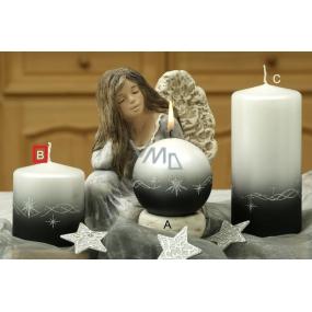 Lima Třpyt hvězdy svíčka černá válec 70 x 80 mm 1 kus