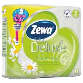Zewa Deluxe Aqua Tube Camomile Comfort parfémovaný toaletní papír 3 vrstvý 150 útržků 4 kusů, rolička, kterou můžete spláchnout
