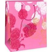 Ditipo Dárková papírová taška velká růžová, růžovobílá poupata 26,4 x 13,7 x 32,4 cm AB