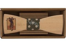 Bohemia Gifts Dřevěný motýlek Golfista 12,5 cm