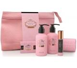 Castelbel Rosé Blush sprchový gel 100 ml + toaletní voda 10 ml + tělové mléko 100 ml + mýdlo 40 g + ručníček 30 x 32 cm + uzavíratelný průhledný obal, cestovní sada pro ženy