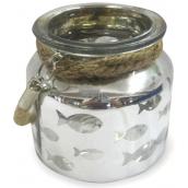 Nekupto Home Decor Lampa sklo se závěsem stříbrný 10,5 cm