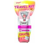 Wilkinson Sword Quattro for Women Papaya & Pearl Travel Kit holicí strojek 3 břitý pro ženy + pouzdro