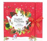 English Tea Shop Bio Adventní kalendář červený 25 kusů bioodbouratelných pyramidek čaje, 13 příchutí, 50 g, dárková sada
