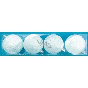 Baňky bílé s flitry 7cm, 4ks v krabičce