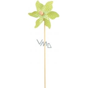 Větrník s kytičkami zelený 9 cm + špejle 1 kus