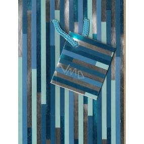 Nekupto Dárková papírová taška malá 031 40 GS Modrá s pruhy 14 x 11 x 6,5 cm