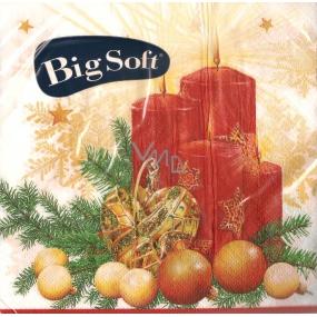 Big Soft Vánoční papírové ubrousky Svíčka a srdce bílé 33 x 33 cm 2 vrstvé 20 kusů