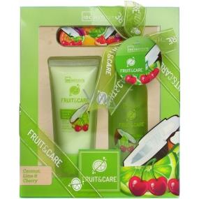 Idc Institute Fruit & Care Coconut, Lime & Cherry sprchový gel 100 ml + tělové mléko 60 ml + pilník na nehty 1 kus, kosmetická sada