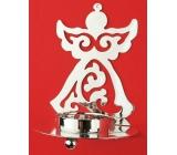 Svícen kovový stříbrný anděl 11 cm na čajovou svíčku