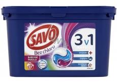 Savo Bez chloru Color 3v1 gelové kapsle na praní barevného prádla 17 kusů