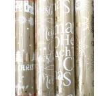 Zöllner Vánoční Luxusní balicí papír s ražbou Urban zlatý - Merry Christmas, stromy, jeleni, domy 1,5 m x 70 cm