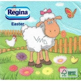 Regina Papírové ubrousky 1 vrstvé 33 x 33 cm 20 kusů Velikonočví Ovečka