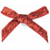Mašle sametová červená třpytivá 8 cm 12 kusů