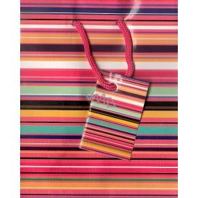 Nekupto Dárková papírová taška malá 14 x 11 x 6,5 cm růžová - barevné proužky 1162 30 KFS