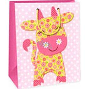 Ditipo Dárková papírová taška 26,4 x 13,7 x 32,4 cm růžová kravička AB
