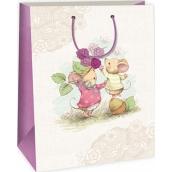 Ditipo Dárková papírová taška velká bílo béžová 2 myšky 32,4 x 10,2 x 44,5 cm DXA