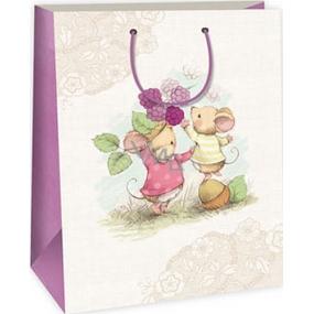 Ditipo Dárková papírová taška 32,4 x 10,2 x 44,5 cm bílo béžová 2 myšky