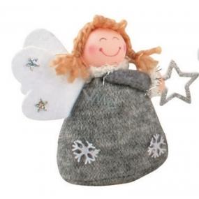 Anděl pletený šedý na postavení 10 cm č.1