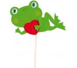 Žába ležící se srdíčkem zápich 7 cm + špejle