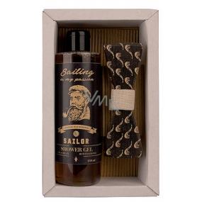 Bohemia Gifts Sailor Pivní kvasnice a chmel sprchový gel 250 ml + dřevěný motýlek, kosmetická sada