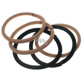 Vlasová gumička béžová a černá 5 x 0,4 cm 5 kusů