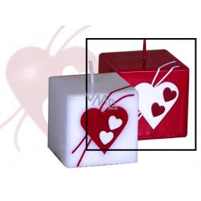 Lima Valentýnská svíčka červená srdce krychle 65 x 65 mm 1 kus