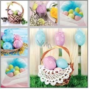 Velikonoční papírové ubrousky košík s vajíčky 33 x 33 cm 3 vrstvé 20 kusů