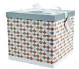 Dárková krabička skládací s mašlí celoroční L 22x22x13cm Mozaika