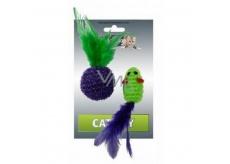 Papillon Myška lurexová jednobarevná hračka pro kočky 5 cm + míček 4 cm s pérky