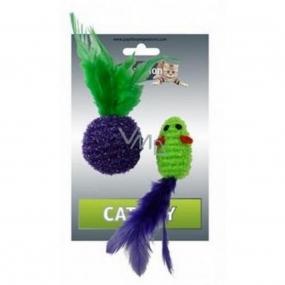 Papillon Lurex Myška jednobarevná hračka pro kočky 5 cm + míček 4 cm s pérky