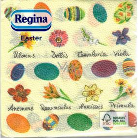 Regina Papírové ubrousky 1 vrstvé 33 x 33 cm 20 kusů Velikonoční žluté, barevné vajíčka a kvítečka