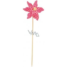 Větrník károvaný růžový 9 cm + špejle 1 kus