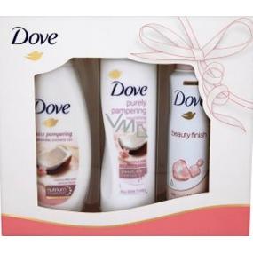 Dove Kokosové mléko a květy jasmínu vyživující sprchový gel 250 ml + tělové mléko 250 ml + Beauty Finish antiperspitant deodorant sprej pro ženy 150 ml, kosmetická sada