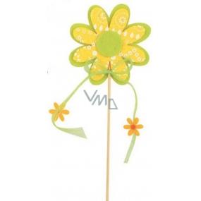 Květ z filcu žlutý s bílým dekorem 8 cm + špejle