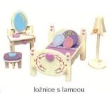 Mini Dream Home Dřevěné puzzle nábytek snů Ložnice s lampou 20 x 15 cm