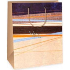 Ditipo Dárková papírová taška velká modro hnědo oranžové vodorovné pruhy 26,4 x 13,6 x 32,7 cm DAB
