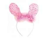 Čelenka uši s peříčkem růžová puntík 23 cm