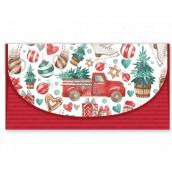 Nekupto Přání obálka na peníze vánoční Auto se stromkem 116 x 220 mm