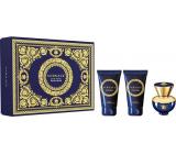Versace Dylan Blue pour Femme parfémovaná voda pro ženy 50 ml + tělové mléko 50 ml + sprchový gel 50 ml, dárková sada