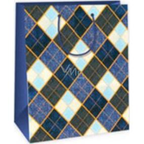 Ditipo Dárková papírová taška velká modro hnědo oranžové káro 26,4 x 13,6 x 32,7 cm DAB
